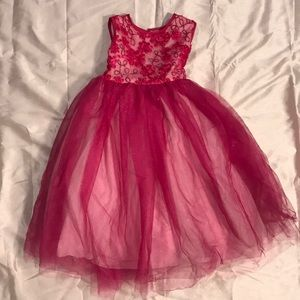 GIRLS FANCY WEDDING PARTY TULLE DRESS 5 S SMALL